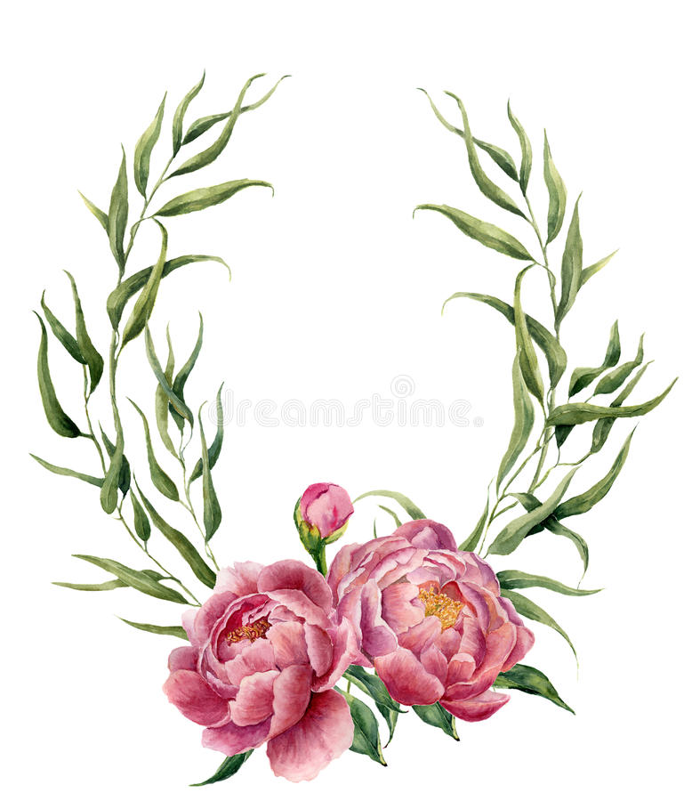 Watercolor floral wreath with eucalyptus leaves, peonies and leaves. Hand painted floral border with branches, leaves stock illustration