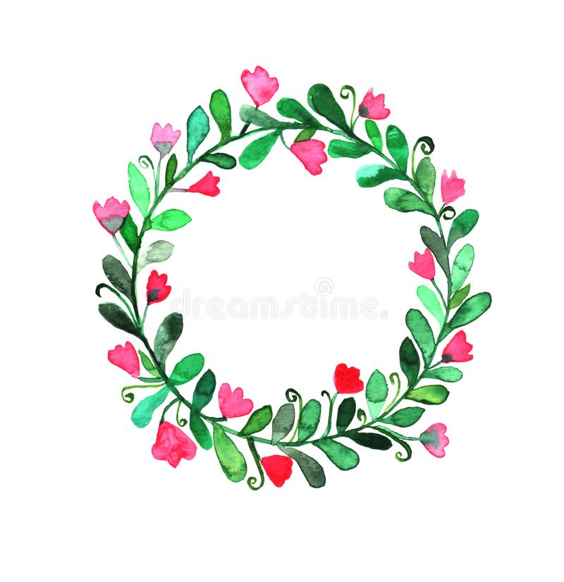 Watercolor floral wreath for invitations, greeting cards, poster, stickers, stationery vector illustration