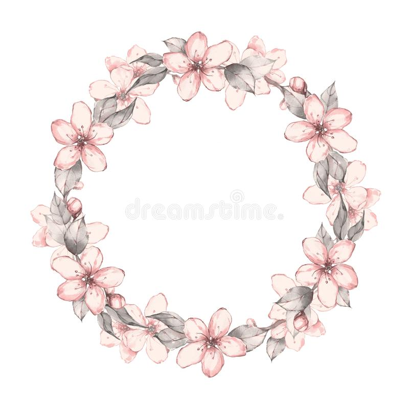 Watercolor Floral Wreath 4 Isolated On White Background