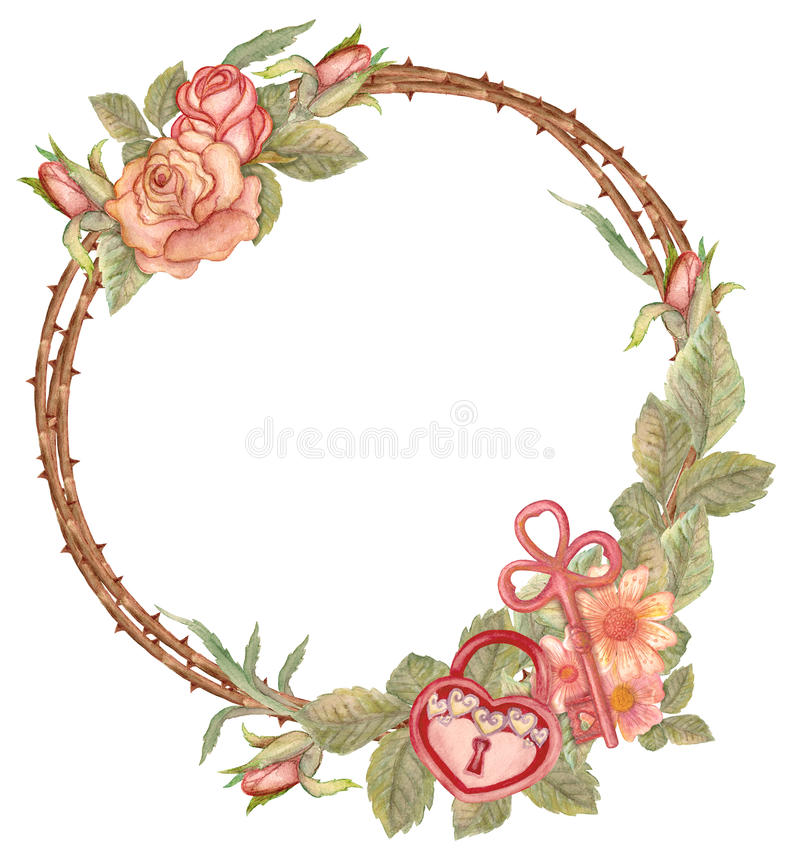 Watercolor floral wreath with key and padlock vector illustration