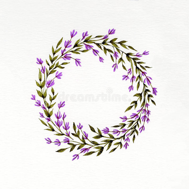 Watercolor floral wreath with lavender, green leaves and branches. Used for wedding invitation, greeting cards vector illustration