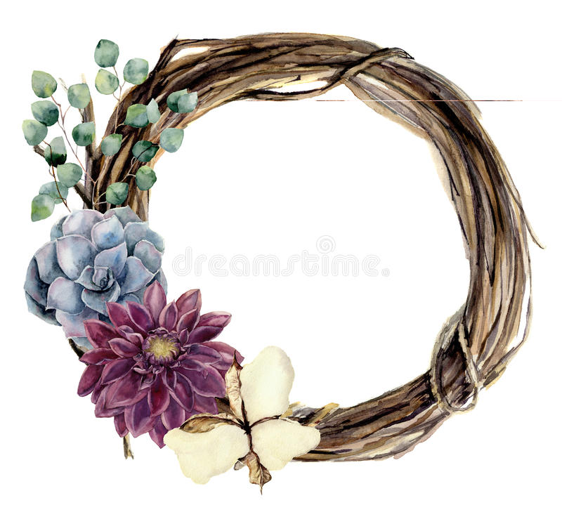 Watercolor floral wreath of twig. Hand painted wood wreath with silver dollar eucalyptus, dahlia, cotton flower and. Succulent. Floral illustration for design vector illustration