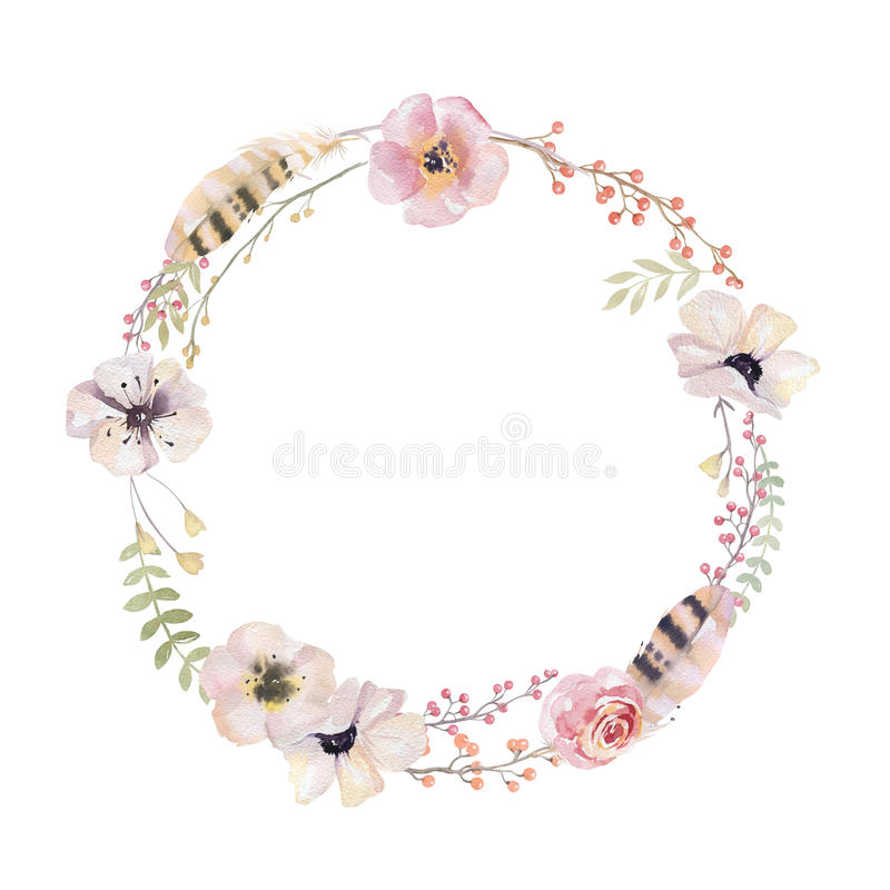 Watercolor floral wreath. Watercolour natural frame: leaves, feathers, flowers, birds. Isolated on white background. Artistic dec stock illustration