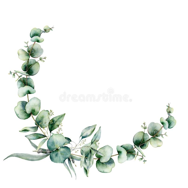 Free Watercolor Floral Wreath With Eucalyptus Leaves. Hand Painted Illustration With Branches And Leaves Isolated On White Stock Photography - 159705012