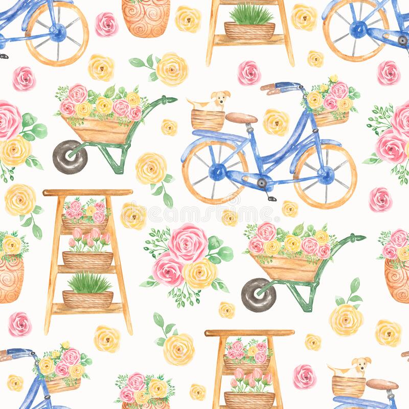 Free Watercolor Florals, Dog, Flower Shop Seamless Pattern, Flower Cart, Hand Drawn Blue Bicycle With Yellow Flowers. Artwork For Royalty Free Stock Photos - 193888388