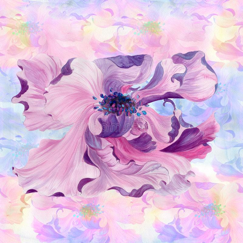 watercolor Flores en un fondo de la acuarela Papel pintado abstracto con adornos florales Modelo inconsútil stock de ilustración