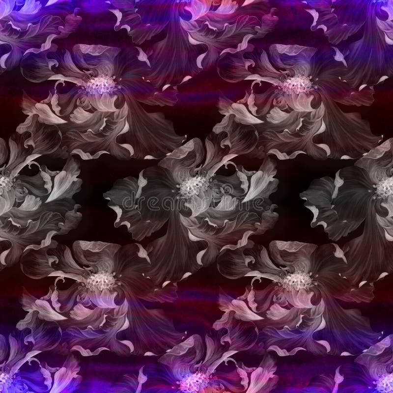 watercolor Flores en un fondo de la acuarela Papel pintado abstracto con adornos florales Modelo inconsútil ilustración del vector