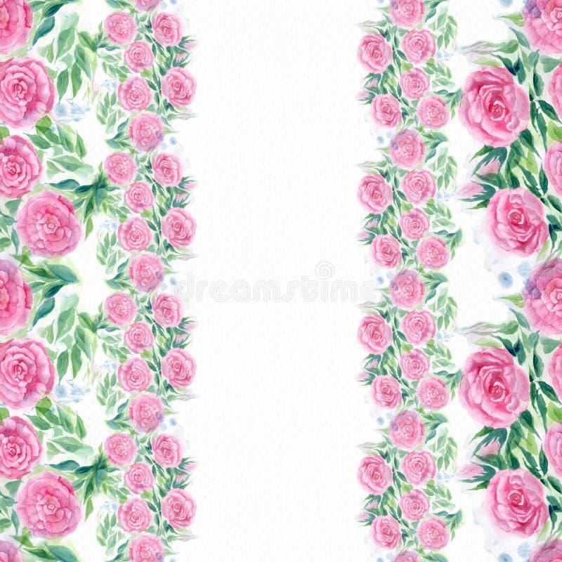 watercolor Flores y hojas de rosas en un fondo blanco Papel pintado abstracto con adornos florales Modelo inconsútil ilustración del vector