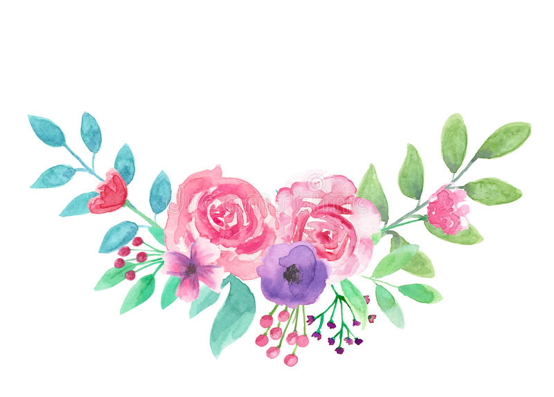 watercolor flower arrangement arch pink floral purple hand painted rh dreamstime com free bouquet of roses clipart bouquet of flowers clipart free