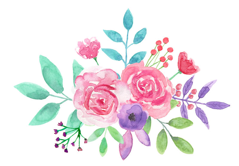 Download Watercolor Flower Arrangement Pink Floral Hand Painted Bouquet Stock Illustration