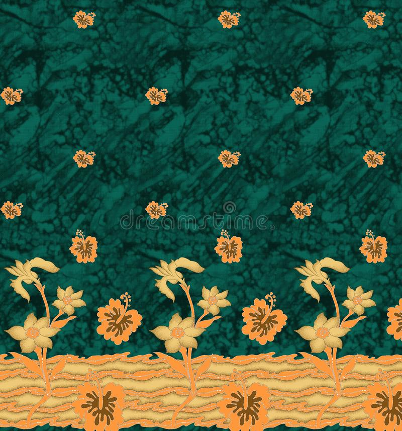 WATERCOLOR FLOWER border. Green WATERCOLOR FLOWER border on batik stock image