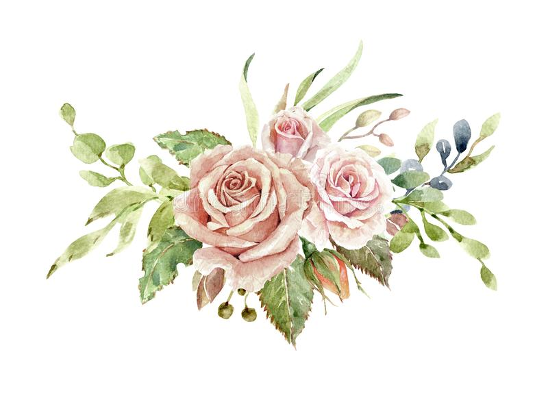 Watercolor flower bouquet,Leaf and buds, Botanic composition layer path, clipping path isolated on white background. royalty free illustration