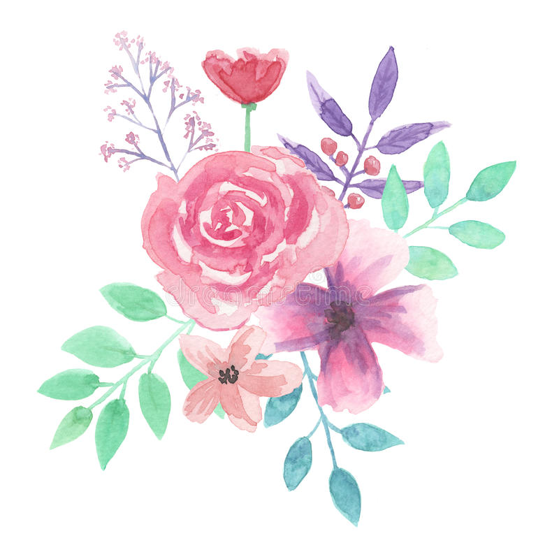 Download Watercolor Flower Bouquet Leaf Pink Roses Spring Summer Stock Illustration