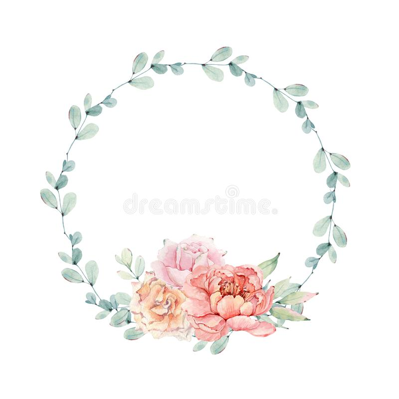 Download Watercolor Flower Circle Frame Stock Illustration