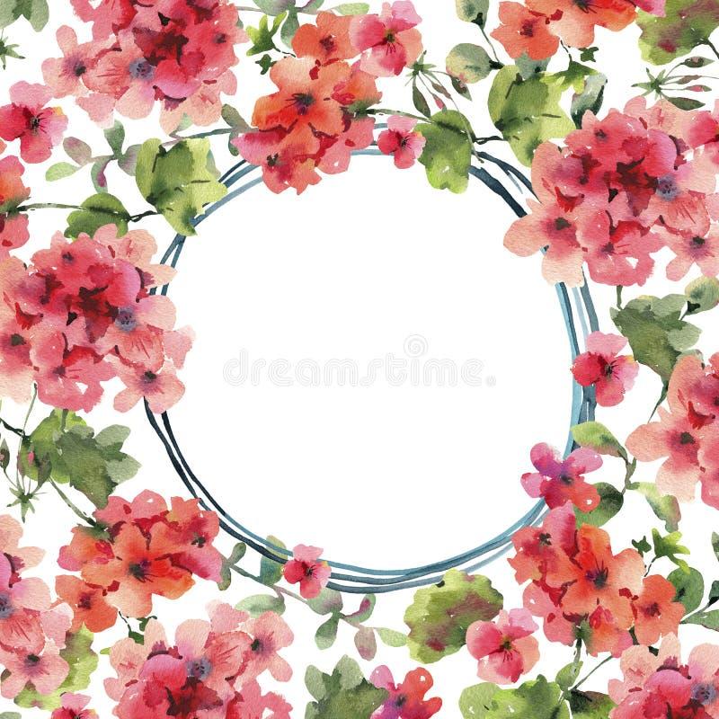 Watercolor Flower Geranium, Pelargonium, Red Flowers Wedding Invitation, Round Frame. Watercolor Flower Geranium, Pelargonium, Red Flowers, Natural Isolated stock illustration