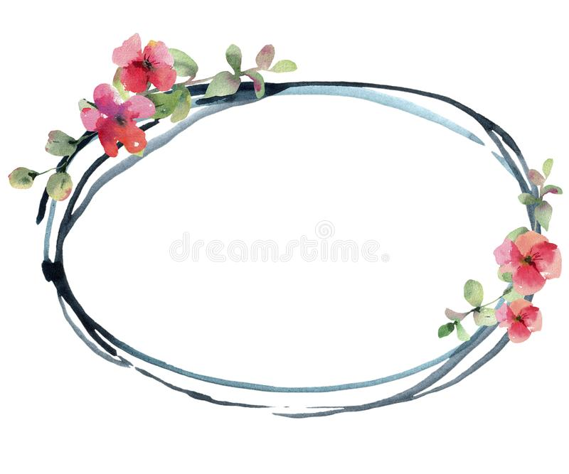 Watercolor Flower Geranium, Pelargonium, Red Flowers Wedding Invitation, Round Frame. Watercolor Flower Geranium, Pelargonium, Red Flowers, Natural Isolated vector illustration