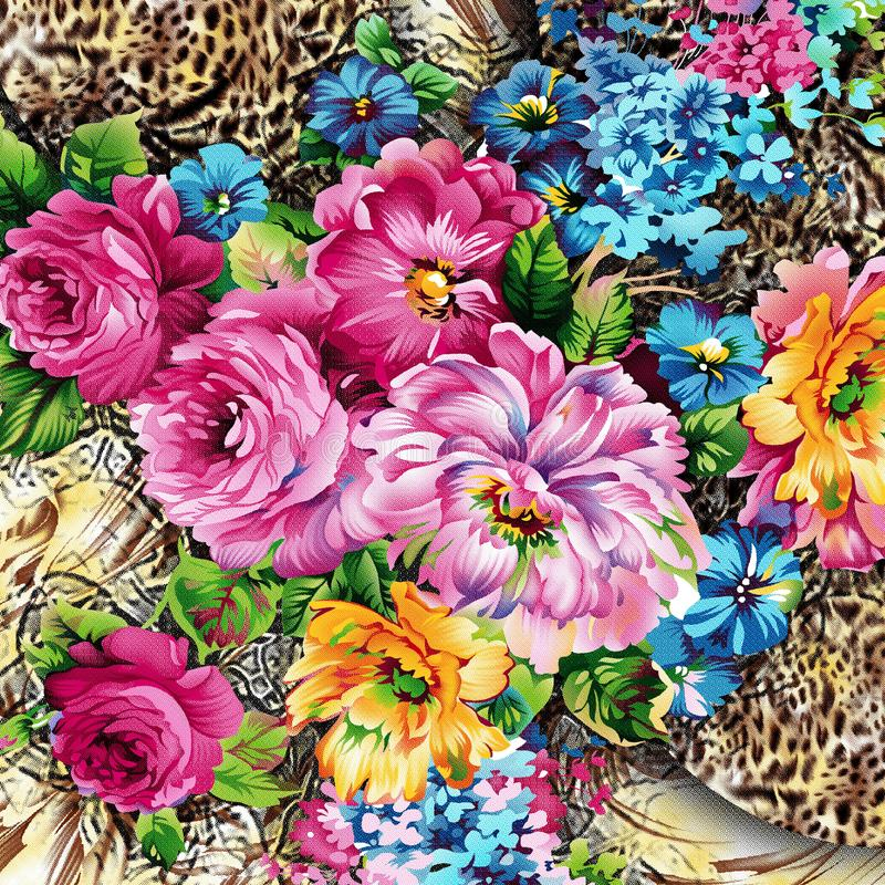 Watercolor flower pattern on leaped skin royalty free illustration