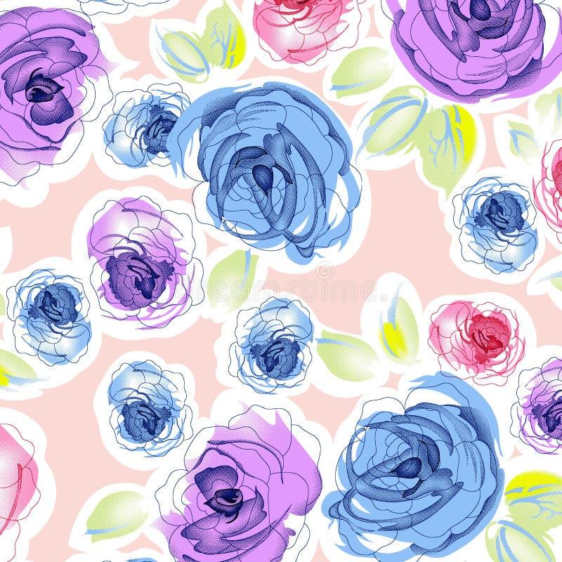 Watercolor flower pattern royalty free illustration