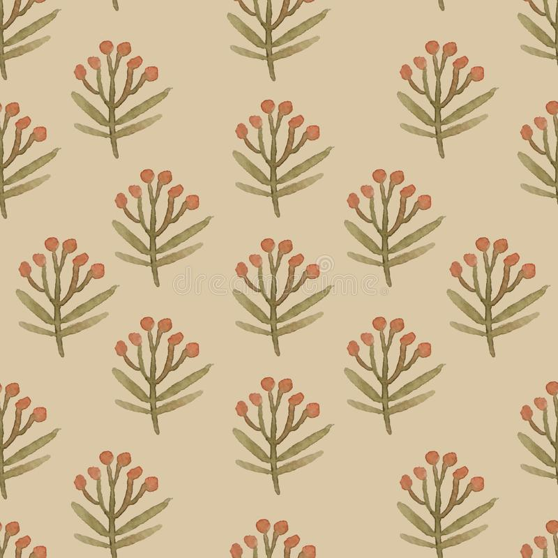 Watercolor flower pattern on yellow background stock illustration