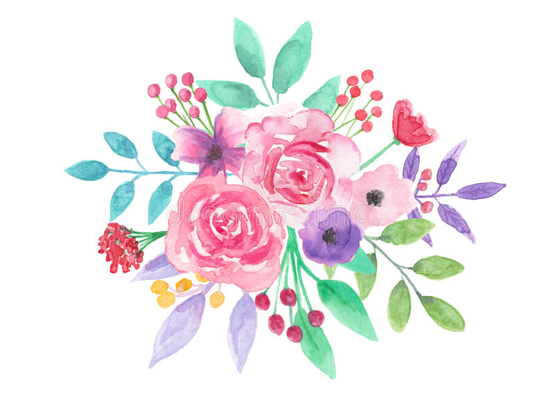 Watercolor Flower Pretty Arrangement Pink Floral Hand ...