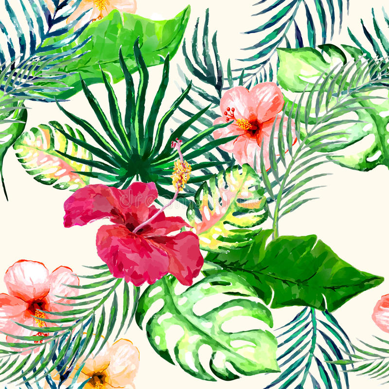 Watercolor Flower seamless. Seamless pattern with tropical flowers in watercolor style stock illustration