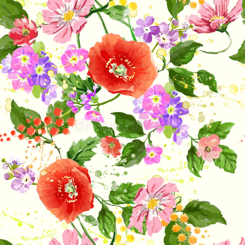 Download Watercolor Flower Seamless Stock Vector - Image: 83714923