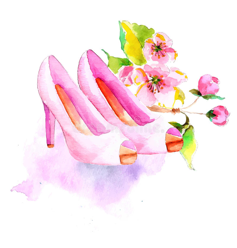 Watercolor flower and shoes. Beautiful illustration for fashion or wedding design royalty free illustration