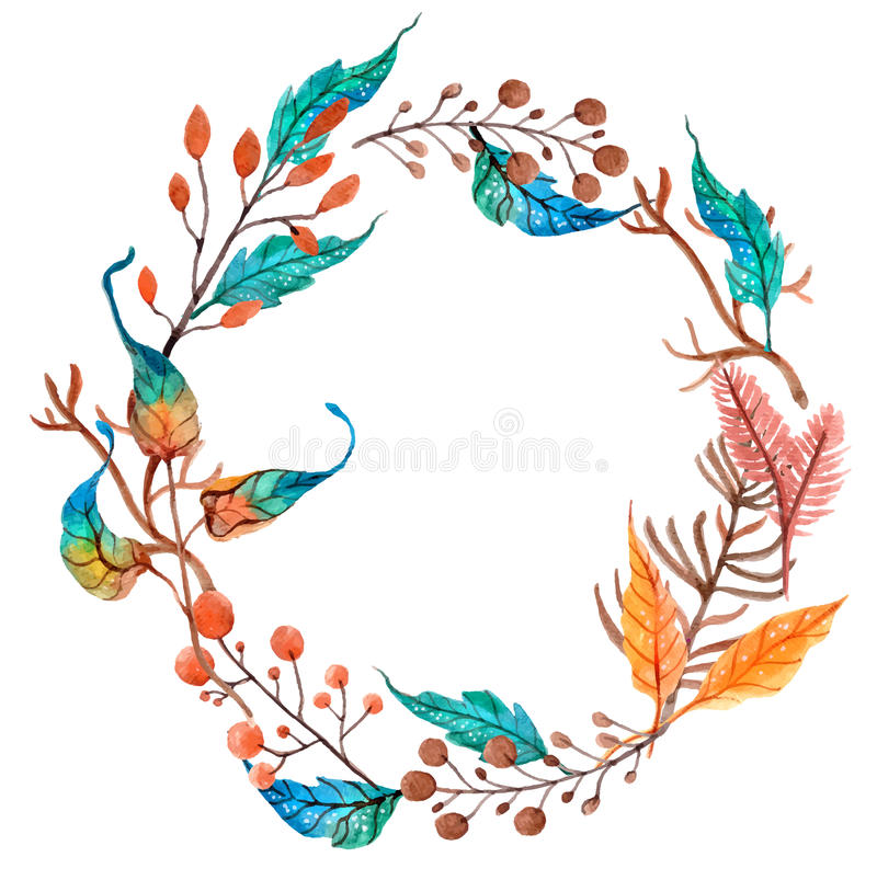 Watercolor flower wreath background royalty free illustration
