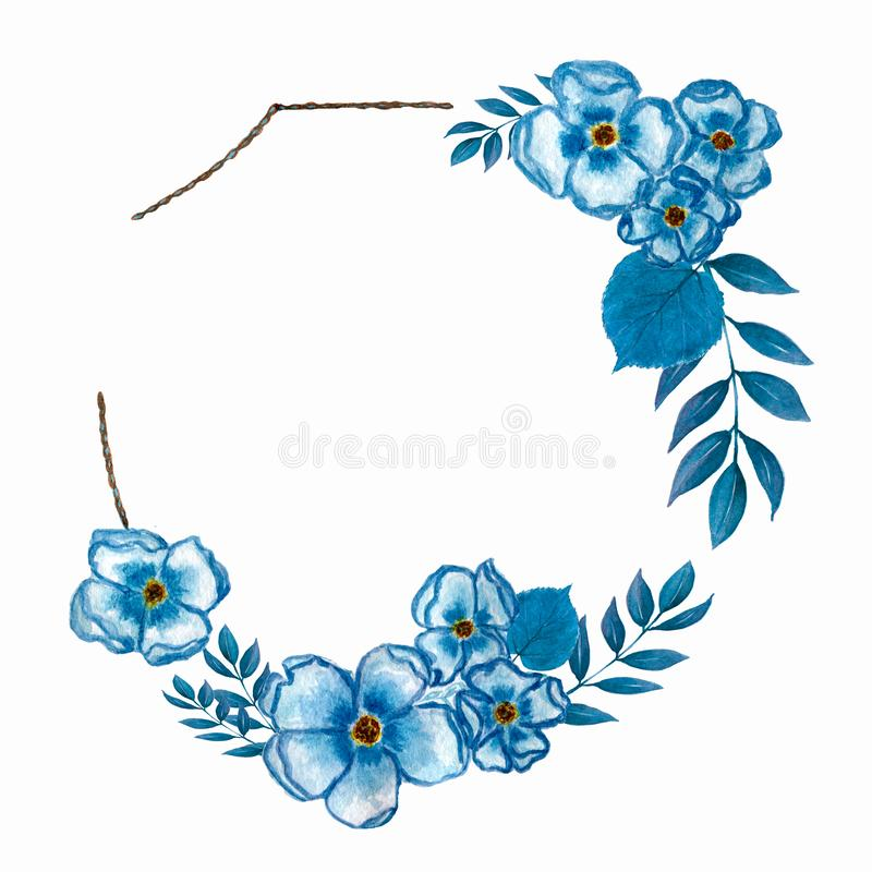 Watercolor flower wreath.floral wreath with flowers in blue and central white copy space for your text. hand drawn watercolor . Watercolor flower wreath royalty free illustration