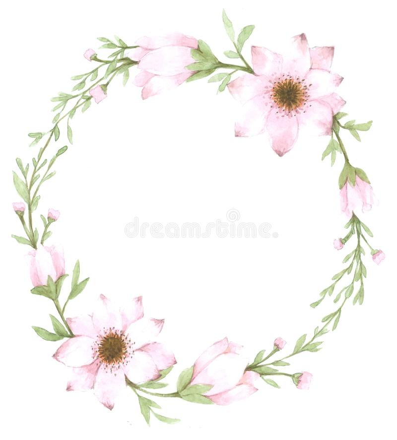 Watercolor flower wreath , on white background stock illustration