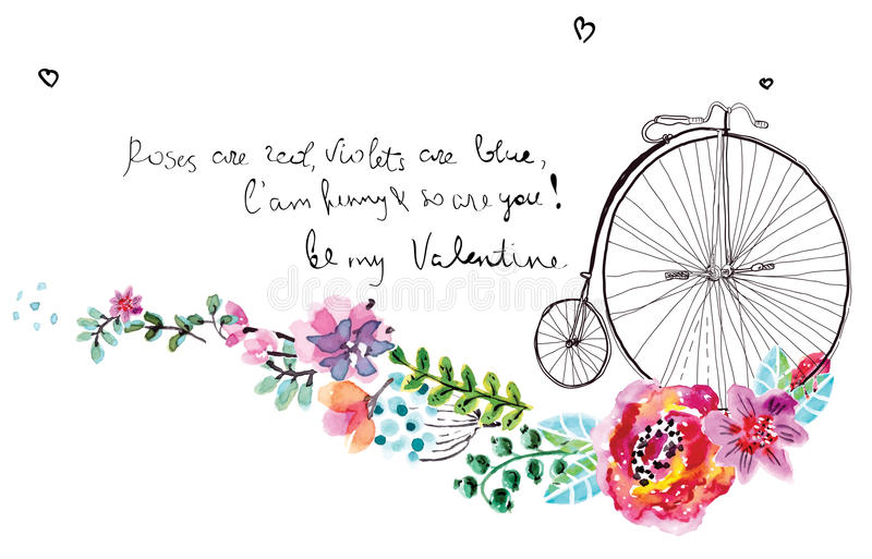 Watercolor flowers with bicycle vector illustration
