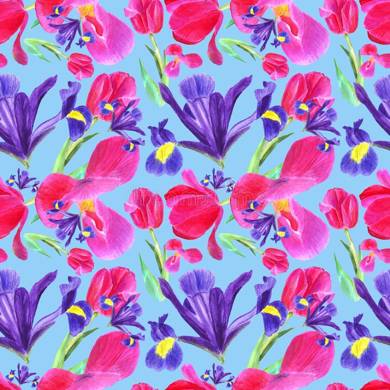 Watercolor iris, tulip and leaves seamless pattern on blue background vector illustration