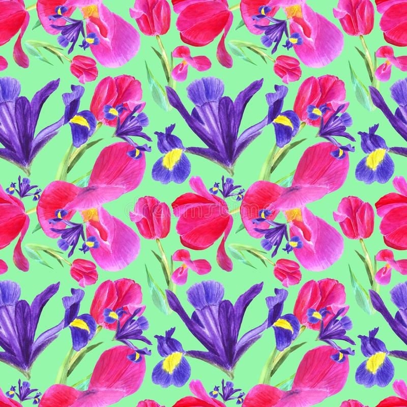 Watercolor iris, tulip and leaves seamless pattern on green background vector illustration