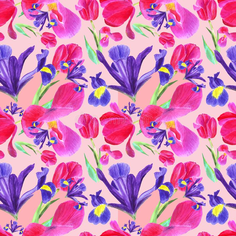 Watercolor iris, tulip and leaves seamless pattern on pink background stock illustration