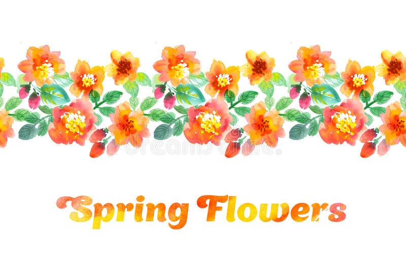 Watercolor Flowers Border Stock Illustration Of Band
