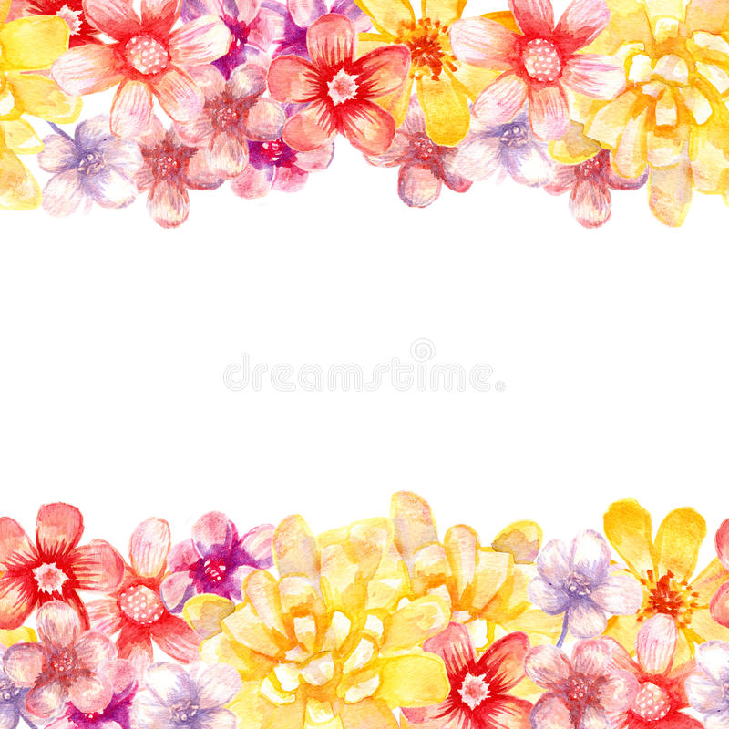 Download Watercolor Flowers Borders Stock Illustration