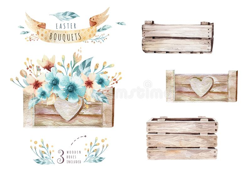 Watercolor flowers bouquets set with feathers. Watercolour color organic feather design print. Isolated illustration royalty free illustration