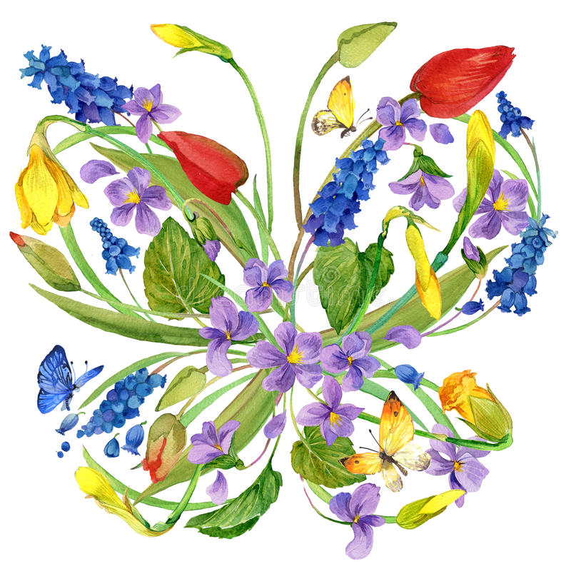 Watercolor flowers and butterfly background. vector illustration