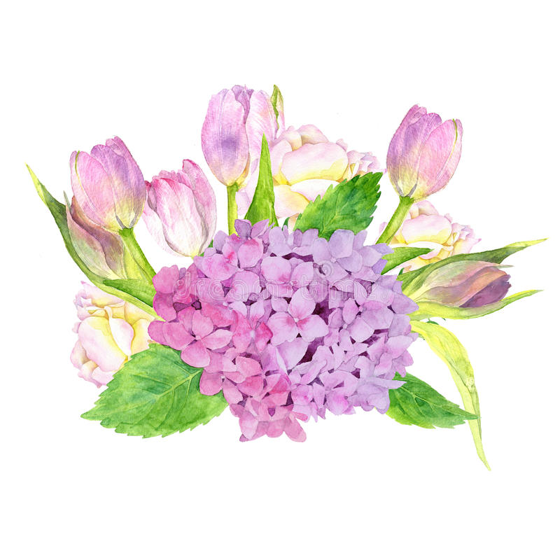 Free Watercolor Flowers Coposition Stock Photo - 95639150