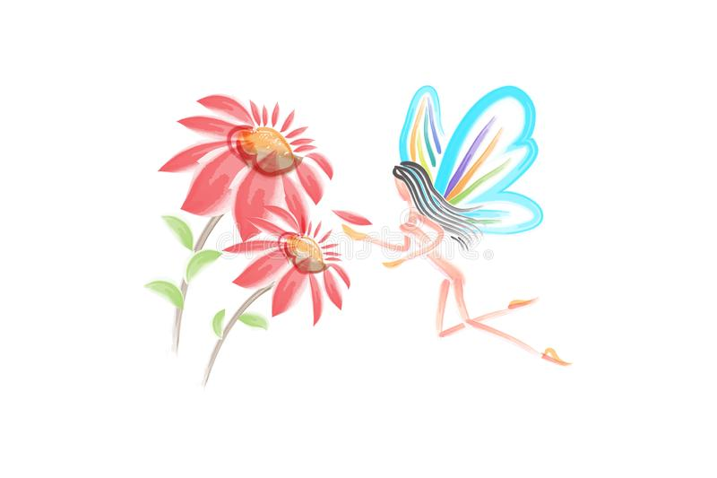 Watercolor flowers with a fairy girl butterfly vector vector illustration
