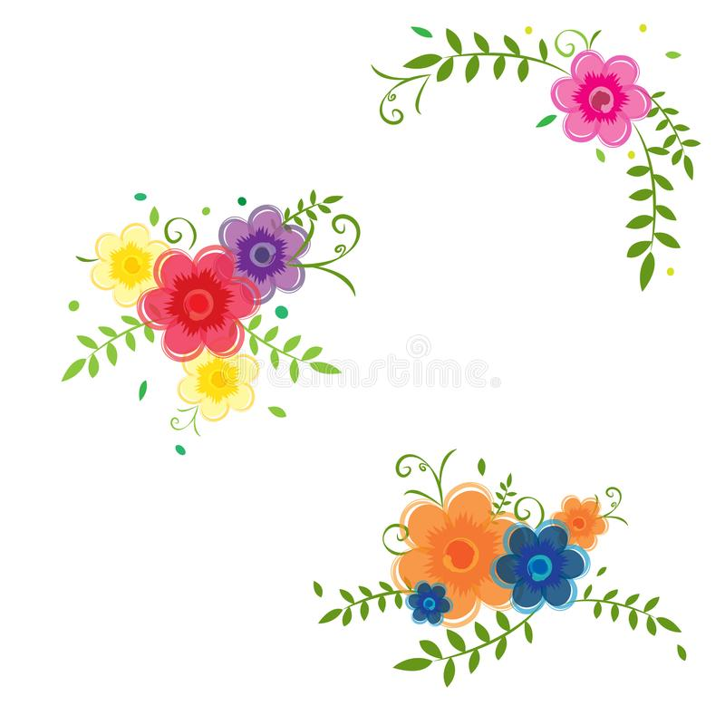 Watercolor flowers floral composition colorful white background royalty free illustration