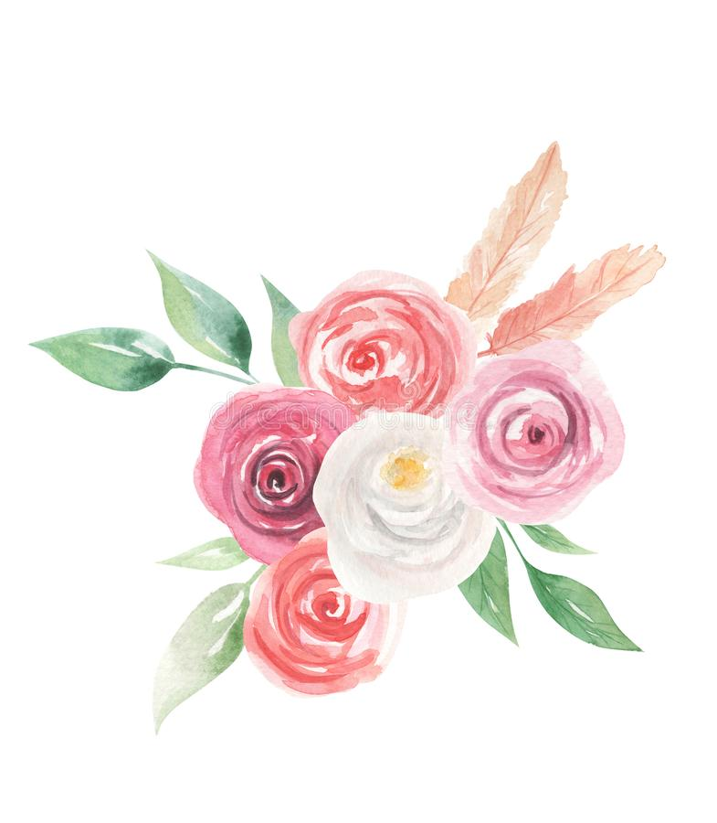 Watercolor Flowers Florals Painted Spring Summer Feathers vector illustration