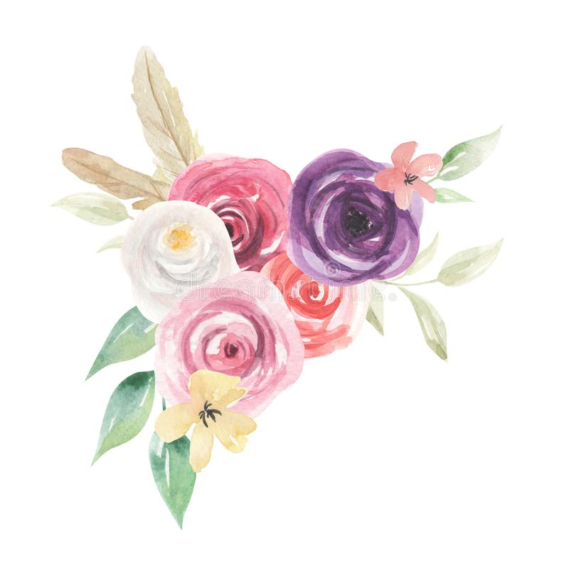 Watercolor Flowers Florals Painted Spring Summer Feathers royalty free illustration