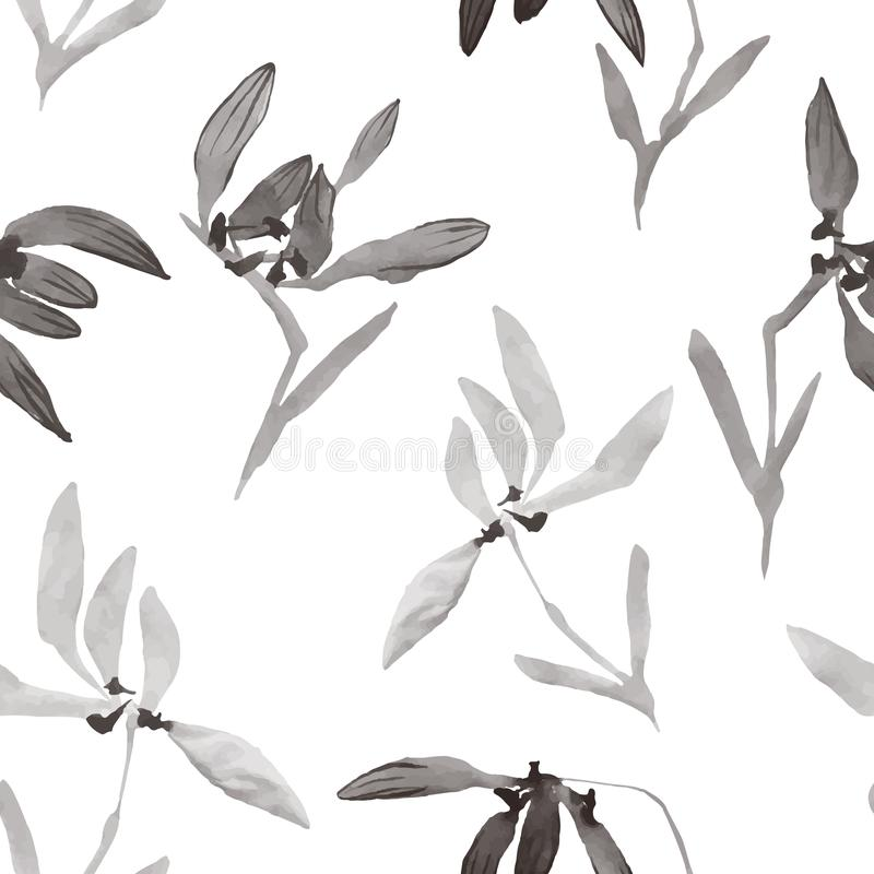 Watercolor flowers hand drawing Seamless pattern with Chinese ar royalty free illustration