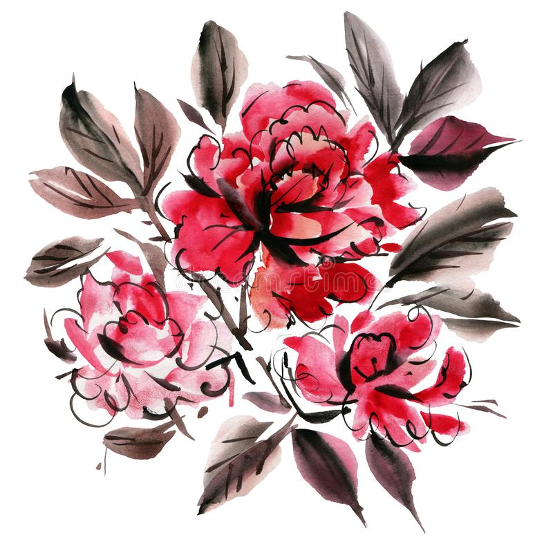Watercolor flowers isolated on a white background vector illustration