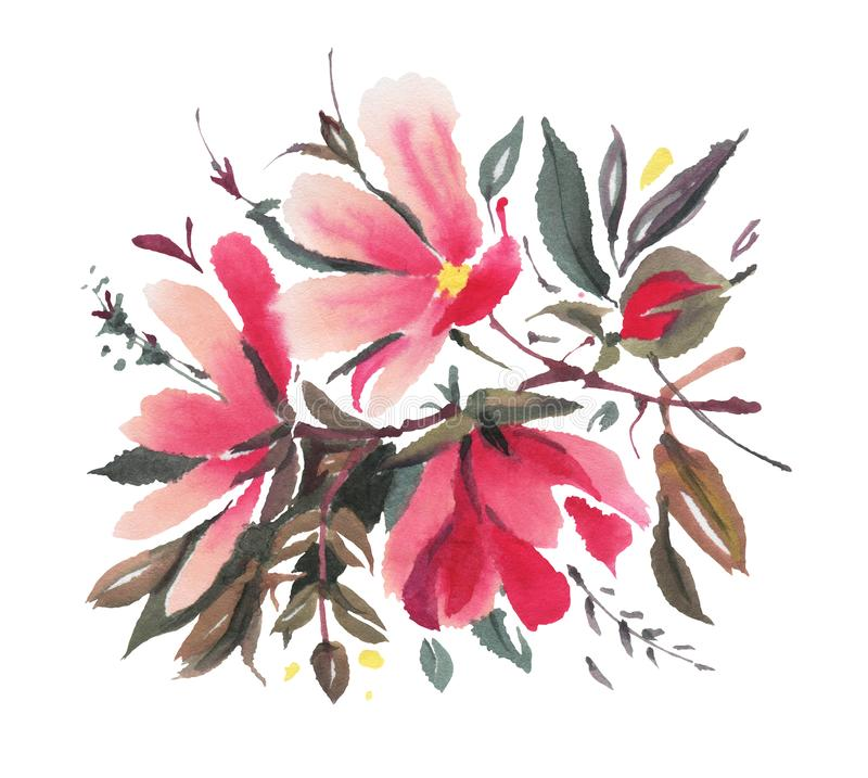 Watercolor  flowers isolated on a white background stock illustration
