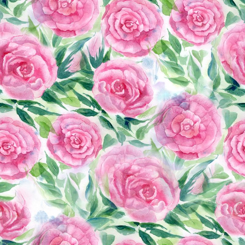 Watercolor. Flowers and leaves of roses on a watercolor background. Abstract wallpaper with floral motifs. Seamless pattern. Flower composition. Use printed stock illustration