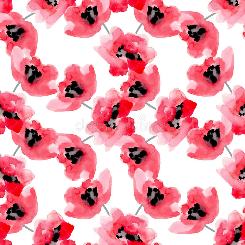 Watercolor flowers red poppy seamless pattern. stock illustration