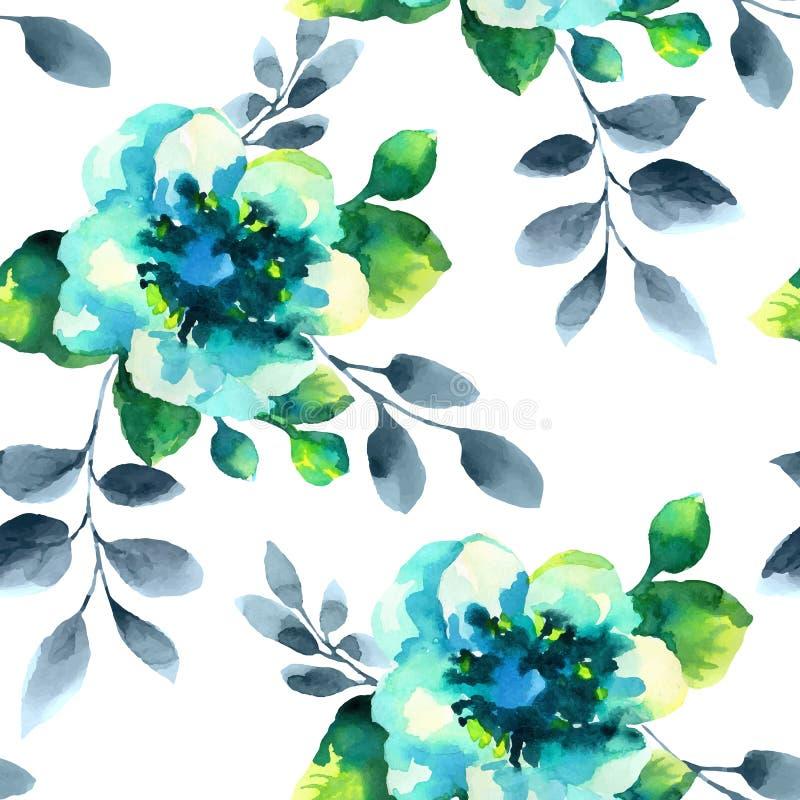 Watercolor flowers seamless pattern stock illustration