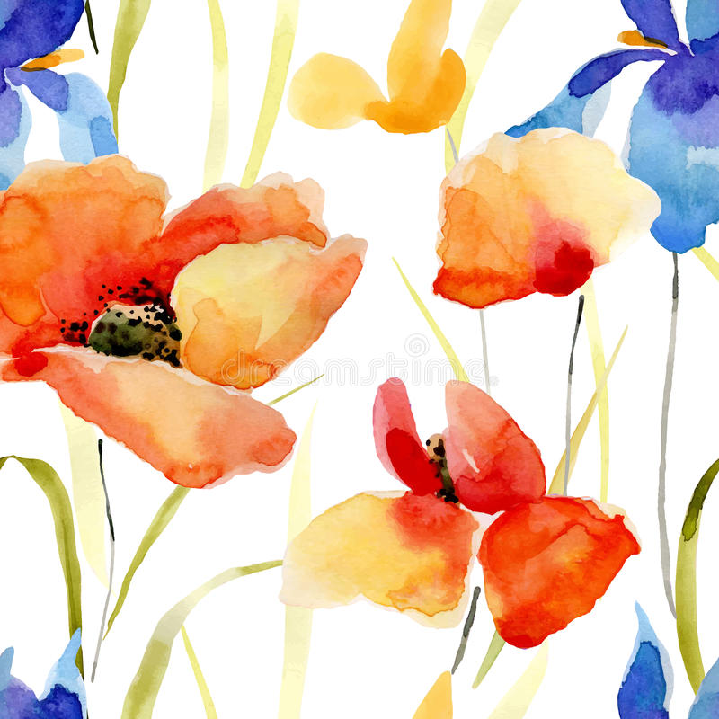 Watercolor flowers seamless pattern. royalty free illustration